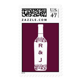 Franqueo del boda del viñedo estampilla