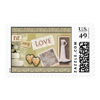 Franqueo del boda del vintage sello postal