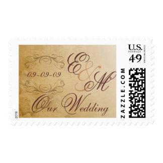 Franqueo del boda - monograma antiguo timbres postales
