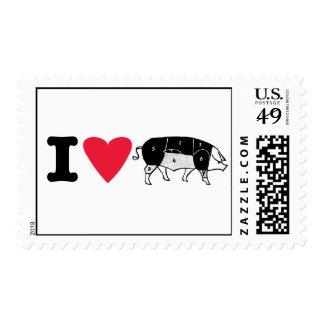 franqueo del cerdo del corazón i timbre postal