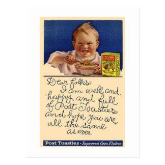 Franqueo del cereal de Toasties del poste del vint Postales