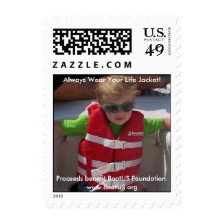 Franqueo del chaleco salvavidas timbre postal