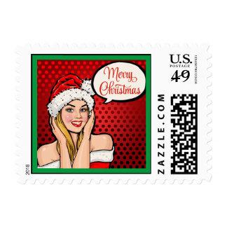 Franqueo del chica de Santa del arte pop Sellos Postales