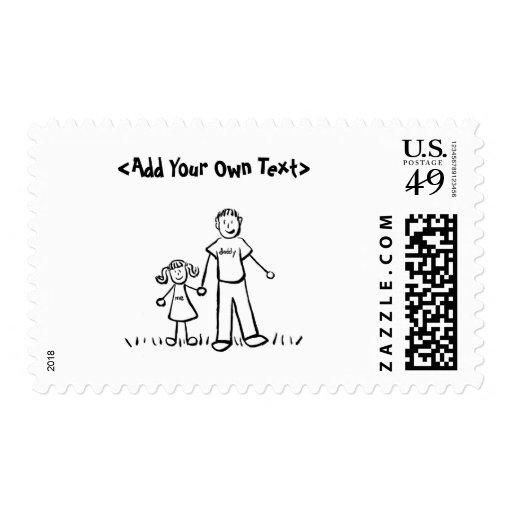 Franqueo del chica del papá timbre postal