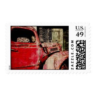 franqueo del coche del vintage sellos postales