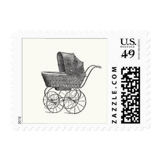 Franqueo del cochecito de niño del vintage timbres postales