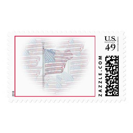 Franqueo del corazón de la bandera americana