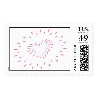Franqueo del corazón/de los fuegos artificiales sello postal