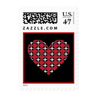 Franqueo del corazón del diamante timbre postal