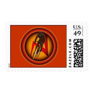 Franqueo del corredor de la bicicleta sello postal