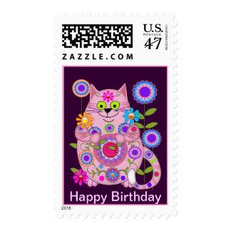 Franqueo del cumpleaños del gato del flower power estampillas