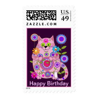Franqueo del cumpleaños del gato del flower power