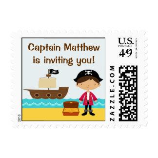 Franqueo del cumpleaños del pirata pequeño sellos postales