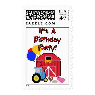 Franqueo del cumpleaños del tema de la granja estampilla