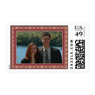 Franqueo del damasco con la imagen de encargo sello
