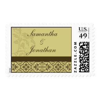 Franqueo del damasco - oro y Brown Timbres Postales