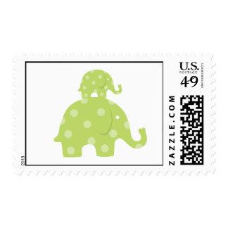 Franqueo del elefante de la mamá y del bebé sello postal