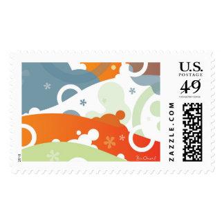 Franqueo del extracto del paisaje de la cereza timbres postales
