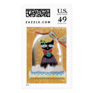 Franqueo del gato de Chibi de las Felices Navidad