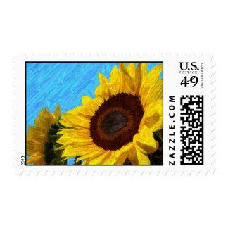 Franqueo del girasol timbre postal