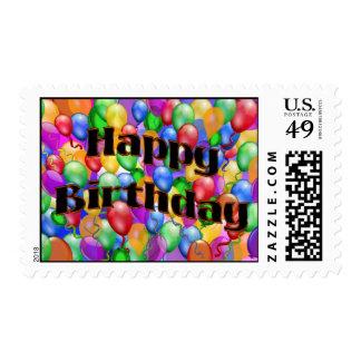 Franqueo del globo del feliz cumpleaños sellos