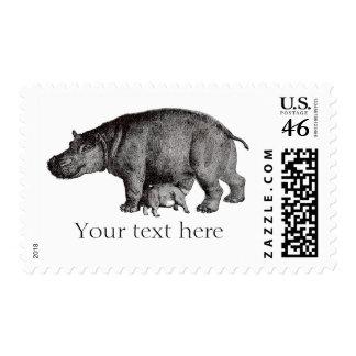 Franqueo del hipopótamo del vintage