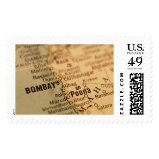 Franqueo del mapa del vintage de BOMBAY