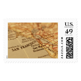 Franqueo del mapa del vintage de SAN FRANCISCO Timbres Postales