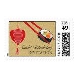 Franqueo del medio del fiesta del sushi del sello postal