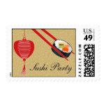 Franqueo del medio del fiesta del sushi timbres postales