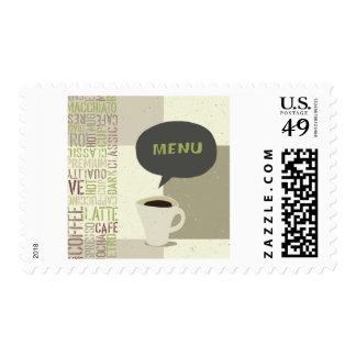 Franqueo del menú del café timbres postales