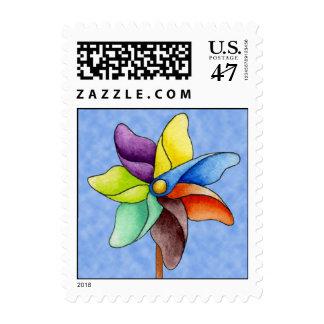 Franqueo del molinillo de viento timbres postales