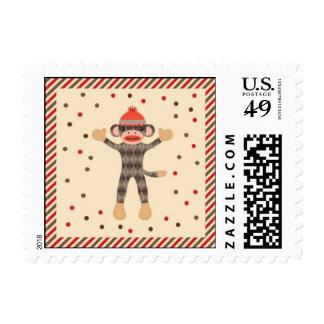 Franqueo del mono del calcetín sellos postales