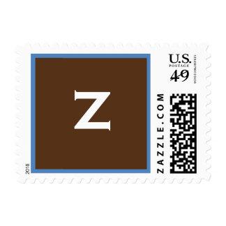 Franqueo del monograma de Zacarias Brown azul