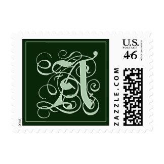 Franqueo del monograma del verde esmeralda - letra