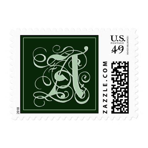 Franqueo del monograma del verde esmeralda - letra sello postal