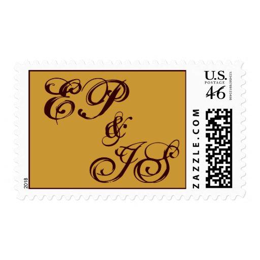Franqueo del monograma dos letras chocolate y oro