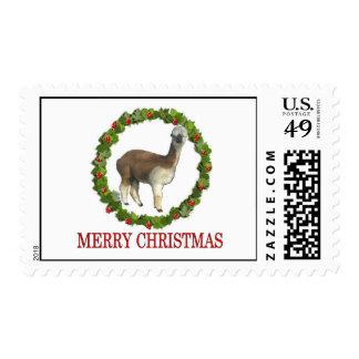 Franqueo del navidad de la alpaca sello postal