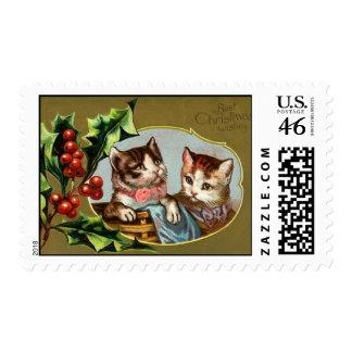 Franqueo del navidad de los gatos del vintage