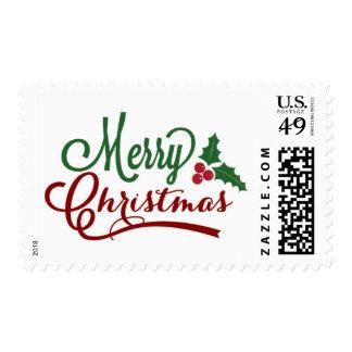 Franqueo del navidad del acebo sello