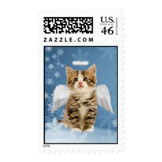 Franqueo del navidad del gatito del ángel