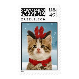 Franqueo del navidad del gatito del reno
