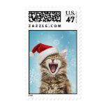 Franqueo del navidad del gato del canto sello postal