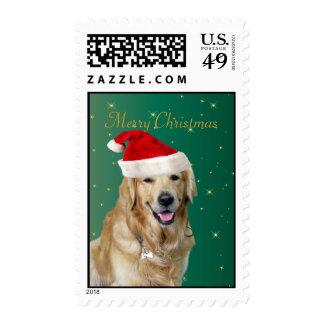 Franqueo del navidad del gorra de santa del perro