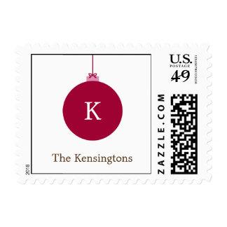 Franqueo del navidad del ornamento del monograma
