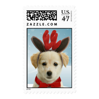 Franqueo del navidad del perrito del reno sellos postales