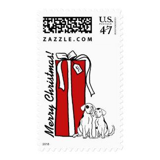 Franqueo del navidad del perro de las Felices Timbre Postal