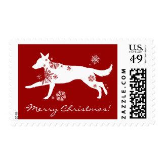 Franqueo del navidad del perro de pastor alemán sello