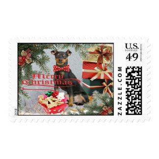 Franqueo del navidad del Pinscher miniatura Sello Postal