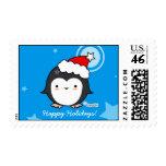 Franqueo del navidad del soplo del pingüino
